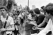 Peoples March for Jobs 1983 arriving in West Bromwich being welcomed with applause - NLA - 31-05-1983
