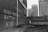 Tower blocks, Hackney, East London April 1988. Grafitti Good Morning Battery Hens - Peter Arkell - 21-03-1988