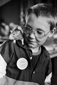 Junior National Fancy Rat Society member with pet rat, 1987 meeting of the Society, Greenwich, London - Peter Arkell - 31-08-1987