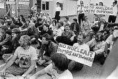 Protest against NIREX nuclear disposal site, Elstow 1986 Bedfordshire. Sit down protest blockading Elstow Storage Depot. No Nuclear Dumps - Peter Arkell - 18-08-1986