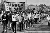Tony Blair, The Jarrow Crusade 1986 leaving for London, following in the footsteps of the famous crusade of 1936 against extreme poverty and unemployment. - Peter Arkell - 07-10-1986