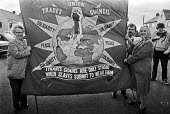 Trades Council banner, The Jarrow Crusade 1986, leaving for London, following in the footsteps of the famous crusade of 1936 against extreme poverty and unemployment. - Peter Arkell - 07-10-1986