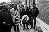 Neil Kinnock, Bernie Grant, Cynthia Jarrett memorial ceremony, North London, 1986 Cynthia Jarrett died as Police raided her flat, starting the Broadwater Farm estate riot - Peter Arkell - 31-10-1986