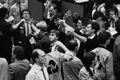 Traders panic selling, Financial Futures Market London, 1987 as FTSE Index falls 300 points during the October financial crash - Peter Arkell - 19-10-1987
