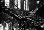 The Midland Grand Hotel, St Pancras Station, London, 1988 before renovation. The Grand Staircase - Peter Arkell - 12-11-1988