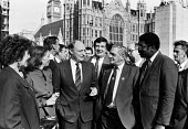 TGWU sponsored MPs Neil Kinnock, Margaret Beckett 1989 with union leaders Bill Morris and Dan Duffy outside Houses of Parliament, London. - Peter Arkell - 20-02-1989