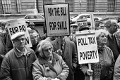 Agricultural workers Poll Tax protest 1990 Ministry of Agriculture and Fisheries, London, low pay and the poll tax. - Peter Arkell - 28-02-1990
