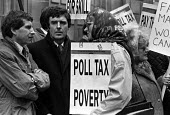 Agricultural workers Poll Tax protest 1990 Ministry of Agriculture and Fisheries, London, low pay and the poll tax. Gavin Strang MP - Peter Arkell - 28-02-1990
