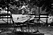 Homeless man Sleeping rough next to tennis court, 1992, Lincoln's Inn Fields, Holborn, London - Peter Arkell - 08-06-1992