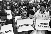 Keep the Pits Open TUC protest London 1993. Children carrying the names of the pits under threat. Charlston, Bevercotes, Prince of Wales - Peter Arkell - 06-02-1993