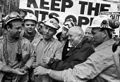 Keep the Pits Open TUC protest London 1993. Norman Willis is offered snuff by miners in helmets - Peter Arkell - 06-02-1993