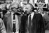 Keep the Pits Open TUC protest London 1993. Arthur Scargill NUM taking with Rodney Bickerstaffe NUPE - Peter Arkell - 06-02-1993