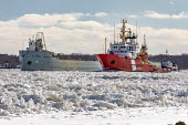 Roberts Landing, Michigan, USA: The St Marys Challenger navigating ice on the St. Clair River aided by Canadian Coast Guard icebreaker Samuel Risley. Built in 1906 as a self-propelled ore carrier, the... - Jim West - 07-02-2021