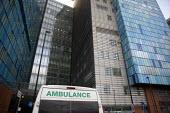 Ambulance, The Royal London Hospital, Barts Health NHS Trust, Whitechapel, East London. - Jess Hurd - 16-02-2021