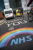 Ambulances and Thank You NHS tribute, The Royal London Hospital, Barts Health NHS Trust, Whitechapel, East London. - Jess Hurd - 16-02-2021