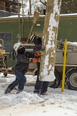 Detroit, USA: DTE Energy workers erecting a new utility pole to provide electric service to an apartment building. Working in bitterly cold weather - Jim West - 17-02-2021