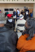 Detroit, USA: Patients waiting in the observation area after being vaccinated against the coronavirus, Detroit Health Department weekend community clinic for vaccination against the coronavirus. They... - Jim West - 27-02-2021