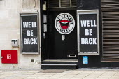 The Comedy Store, We'll be back sign during Covid pandemic lockdown, Central London. Hoping for reopening - Jess Hurd - 03-03-2021