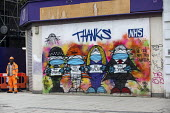 Thanks NHS graffiti murial by artists Bowen and Blackmore, Covid pandemic lockdown, Oxford Street, London - Jess Hurd - 03-03-2021