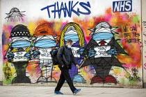 Thanks NHS graffiti murial by artists Bowen and Blackmore, Covid pandemic lockdown, Oxford Street, London - Jess Hurd - 03-03-2021