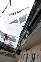 03-03-2005 - Typical street view with clothes drying up between houses in Stepanakert, Nagorno Karabakh, Azerbaidjan, March 2005. The region, although officially located within Azerbaidjan, is being occupied by Ar... © Boris Heger