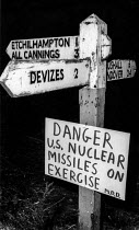 02-11-1983 - A warning sign put up near Salisbury Plain by protesters danger US nuclear missiles on exercise, as Greenham Common became the base as American Cruise Missiles were deployed there. © Bob Naylor