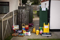 29-10-2014 - Open to offers: A yard sale or garage sale of children's toys. Scunthorpe, North Lincolnshire. © Connor Matheson