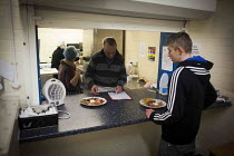 02-02-2015 - Breakfast being handed out, in total 96 breakfasts were made on a monday morning between 10 and 12. The Drop in Kitchen, Barnsley Centre. © Connor Matheson