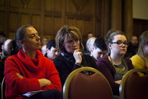03-24-2015 - Protesters inside Sheffield Town Hall watching the council planning committee debate and vote on whether a row of shops on Devonshire Street, including shop rare and racy, should be demolished and a n... © Connor Matheson