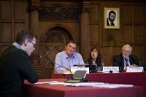 24-03-2015 - A speaker against the proposed development puts forward his argument inside Sheffield town hall during the council planning committee debate and vote on whether a row of shops on Devonshire Street sho... © Connor Matheson