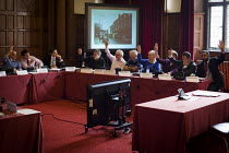 24-03-2015 - Sheffield council planning committee voting on whether a row of shops on Devonshire Street should be demolished and a new development by CODA should take place. The development was approved. Sheffield... © Connor Matheson