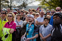03-05-2015 - Local people watching the Tour De Yorkshire on a big screen. Roundhay Park, Leeds, West Yorkshire © Connor Matheson