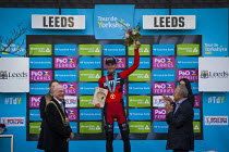03-05-2015 - Stage winner Ben Herman cheering on the podium at the Tour De Yorkshire. Roundhay Park, Leeds, West Yorkshire © Connor Matheson