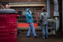 18-05-2015 - Workers having a smoke break. J Adams and Sons manufacture a range of military and cooking knives out of steel using traditional hand based production methods. The family business employs around 16 pe... © Connor Matheson