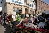 04-06-2015 - Appleby Horse Fair, Cumbria. Police take a lesson in parking a horse in Kirkby Stephen. © David Mansell