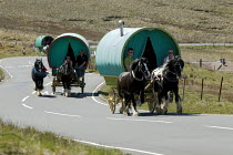 10-06-2015 - Appleby Horse Fair, Cumbria, horse drawn caravans returning along the Hartside Pass © David Mansell