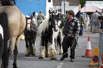 20-05-2015 - Wickham Horse Fair Horse trader taking his horses back home after a day at the Fair. © David Mansell