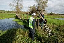 29-10-2007 - Walker crossing a footbridge over the North Drain river just before it is to be removed by the Environment Agency. Somerset Levels, near Wedmore, Somerset © David Mansell