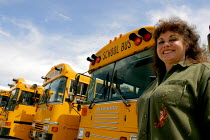 20-04-2006 - A woman school bus driver in Amador, CA. © David Bacon