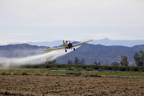 04-02-2012 - A crop duster spraying pesticides on a field south of Seeley an unincorporated community, in the Imperial Valley, California © David Bacon