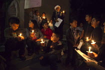 18-12-2014 - California USA Immigrants and immigrant rights activists celebrate the Christmas Las Posadas or festival of acceptance at a Presbyterian church, in a candlelight vigil and teatro nativity play acting... © David Bacon