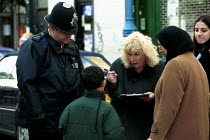 24-10-2002 - Truancy officers question two boys who are out of school, islington london © Duncan Phillips