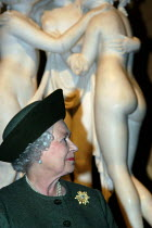 22-10-2003 - The Queen views The Three Graces as part of the royal visit to The Hayward Gallery. The sculpture forms part of the exhibition Saved - 100 Years of the National Art Collections Fund exhibition that sp... © Geoff Crawford