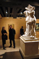 22-10-2003 - Visitors viewing The Three Graces at The Hayward Gallery. On the wall behind is Weeping Woman by Pablo Picasso. The works form part of the exhibition Saved, 100 Years of the National Art Collections F... © Geoff Crawford