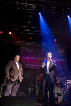 18-10-2009 - Paul Kenny of GMB (L) and Dave Prentis of Unison (R) talk at Refuse To Be Beat, a benefit gig and rally organised by Unison and GMB at O2 Academy, Leeds, for striking cleaning and refuse workers at Le... © Paul Herrmann