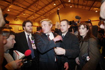 03-05-2002 - David Edwards BNP (centre, with fair hair) declined to talk to the media after winning the first council seat for the British National Party in elections in Burnley, Lancashire © Paul Herrmann