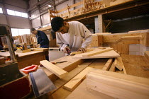 30-07-2004 - Student at Mancat college, Manchester, learns building and joinery skills © Paul Herrmann