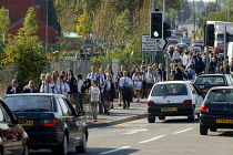 17-09-2003 - Pupils walking home from secondary school. Warwickshire. © John Harris
