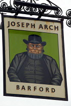 12-06-2005 - Sign of the Joseph Arch pub, he began the Agricultural Workers Union, now part of the TGWU, Barford to Wellesbourne. Warwickshire. © John Harris