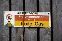 10-11-2010 - A sign warning of Toxic gas in a Slurry store, Taverner Farm in Exeter © John Harris